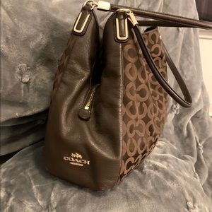 Coach Brown signature canvas leather hobo